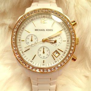 Michael Kors White/Gold Acrylic Watch