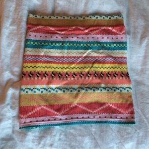 Neon Tribal Print Body Con Skirt