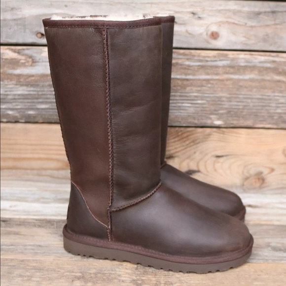 UGG Classic Tall Leather Brownstone Boots 10 NEW!