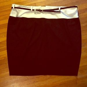 Chic Black and White Belted Skirt