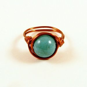 Jewelry - Turquoise Wire Wrapped Ring Brown Copper