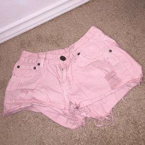Pastel/Baby pink jean shorts
