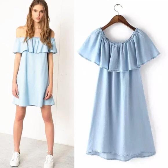 7f6993b482 BNWT blue off shoulder dress