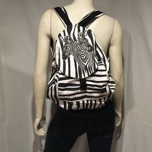 Vintage Handbags - Vintage 80s Canvas Zebra Backpack