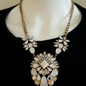 Fabulous pink and white statement necklace