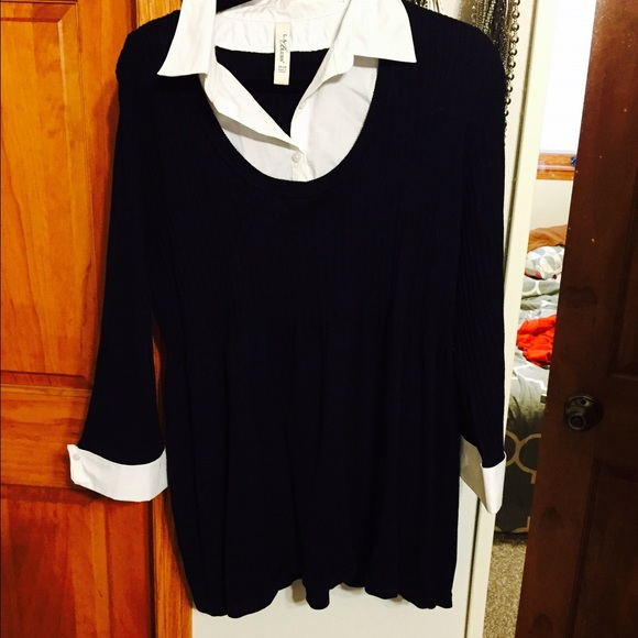 Black Sweater With Built In Collar And Cuffs