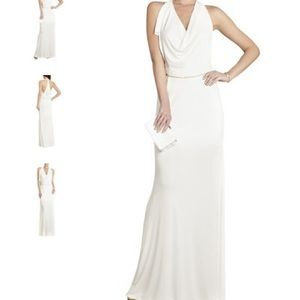 New BCBG Jasmina Draped-Front Open Back Dress M
