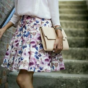 LC Lauren Conrad Skirts - Pink Floral Fit and Flare Scuba Skirt