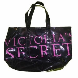Victoria's Secret Handbags - Victoria's Secret Black and Pink Patent Large Tote
