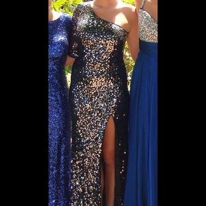 black with silver sequins prom dress