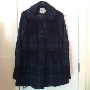 Plaid collared ASOS Coat with Corduroy accents sz4
