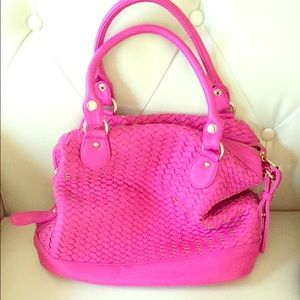 Deux lux hot pink leather bag