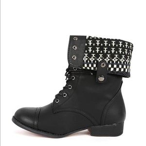 Black Lace Up Combat Boots Embroidered Detail