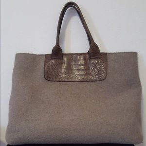 Castaner wool/faux croc tote $100