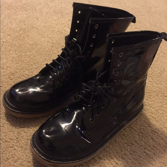 Shoes | Glossy Black Combat Boots