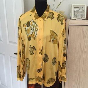 Escada Tops - 💐ESCADA animal print 100% silk blouse vintage