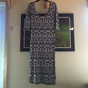 Long Aztec Patterned Bodycon Dress