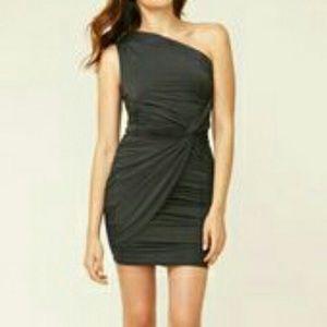 Tart fitted black one-shoulder party dress