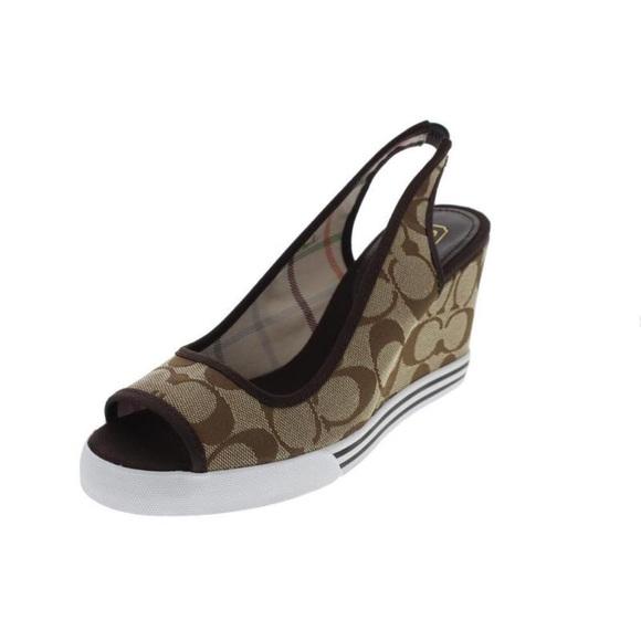 Coach Shoes | Sydney Canvas Signature Slingback Sandals ...