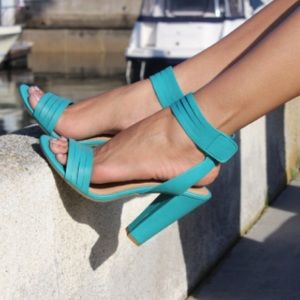 Green sandals shoes chunky heel ankle wrap open