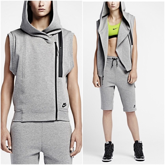 NWT Women's Nike Tech Fleece Vest || M || Grey Boutique