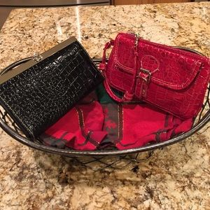 Faux Croc Wristlet and Clutch