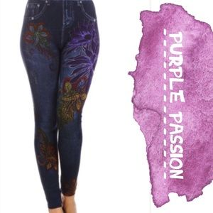 tla2 Pants - PAINTED JEGGINGS WITH BEAUTIFUL FLOWER DETAIL!
