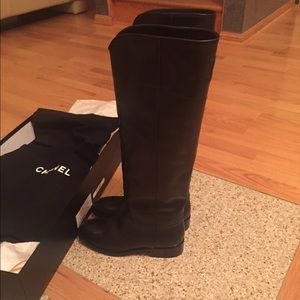 Chanel Black Leather Ascot Boots
