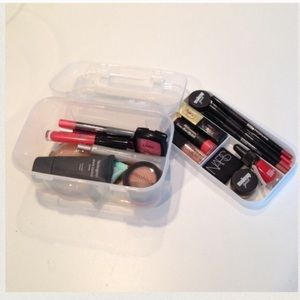 Travel makeup cosmetics train case storage