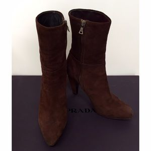Prada Brown Suede High Heeled Boots