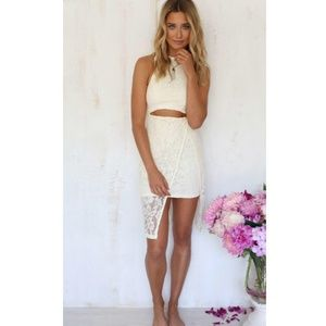 NWT cream lace cut out Sabo Skirt dress