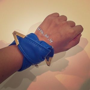 Blue and Gold Leather Pony Twister or Bracelet