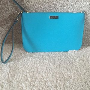 NWOT Kate spade neon turquoise lolly wristlet