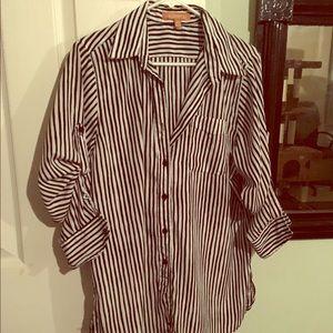 Zara stripe button up shirt