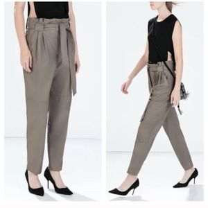 Taupe Faux High Waist Leather