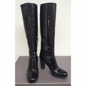 Prada Knee High Black Patent Rubber Heeled Boots