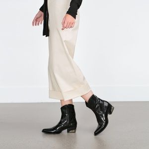 OnedayZara limited time leather cowboy boots