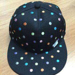 Polka Dot Embroidered Flat Bill SnapBack Cap