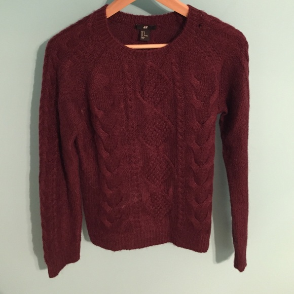 H&M - H&M Maroon Cable knit Sweater from Celia's closet on Poshmark