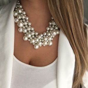 New York & Company pearl cluster necklace