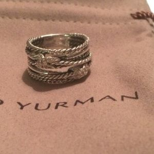 DAVID YURMAN DOUBLE CROSSOVER RING WITH DIAMONDS