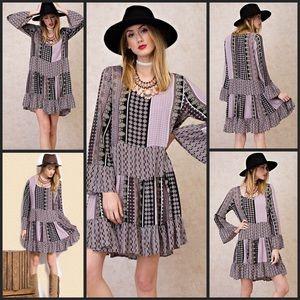 Dresses & Skirts - Boho Lilac Multi Color Print Dress