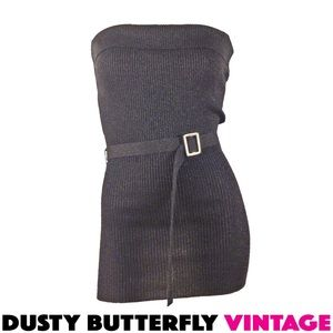 BLACK TUBE TOP Disco Top BELTED Glitter Sparkle