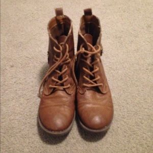 Brown combat ankle boots
