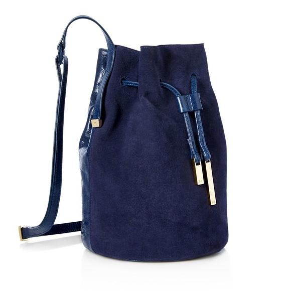 Halston Heritage Handbags - Halston Heritage Navy Leather and Suede Bucket  Bag a8457566fb6d2