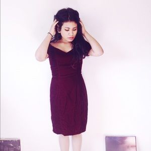Vintage Dresses & Skirts - burgundy velvet sweetheart dress