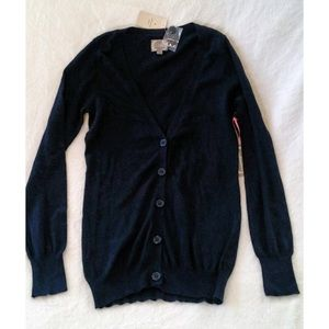 Dark Navy Classic V Neck Thin Cashmere Cardigan M