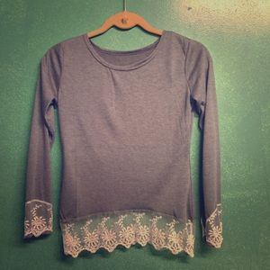 NWOT Long Sleeved boatneck cozy shirt w/lace flare