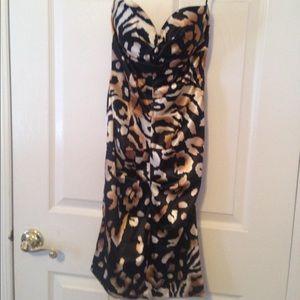 HOST PICKStrapless satin leopard dress