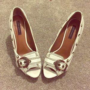 Zara White Peep Toe Heels Sz 8.5